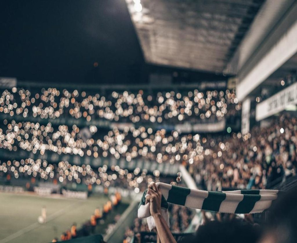 A football stadium house full with amazing bokeh effect